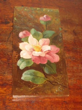 Minton Tile Barbotine Flower Hand Painted Design Late 19th Century photo
