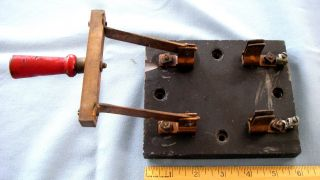 Antique Copper Electric Throw Knife Switch Steampunk Frankenstein Slate Base photo