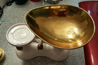 Kitchen Balance Scales W/ 6 Cast Brass Bell Weights Vintage? photo