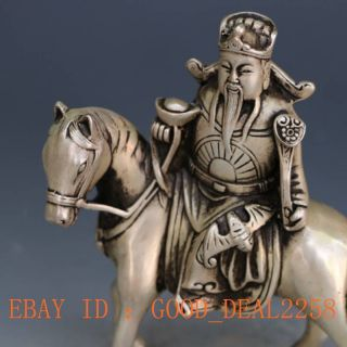 Chinese Silver Copper Hand - Carved Fortuna & Horse Gd6726 photo
