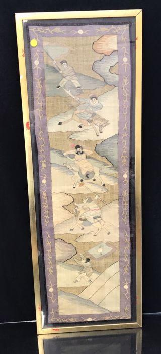 Fine Antique Chinese Silk Kesi Kossu Panels With Warriors Fine Details photo