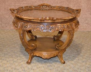 Vintage Ornate Round Inlaid Glass Lift Top Tray Table W/built In Lazy Susan photo