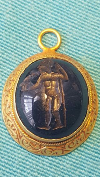 Ancient Roman Solid Gold Lapis Intaglio Pendant Very Rare photo