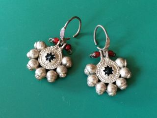 - Antique Ottoman - Islamic Jewelry - Silver Alloy Earrings 19th Century photo