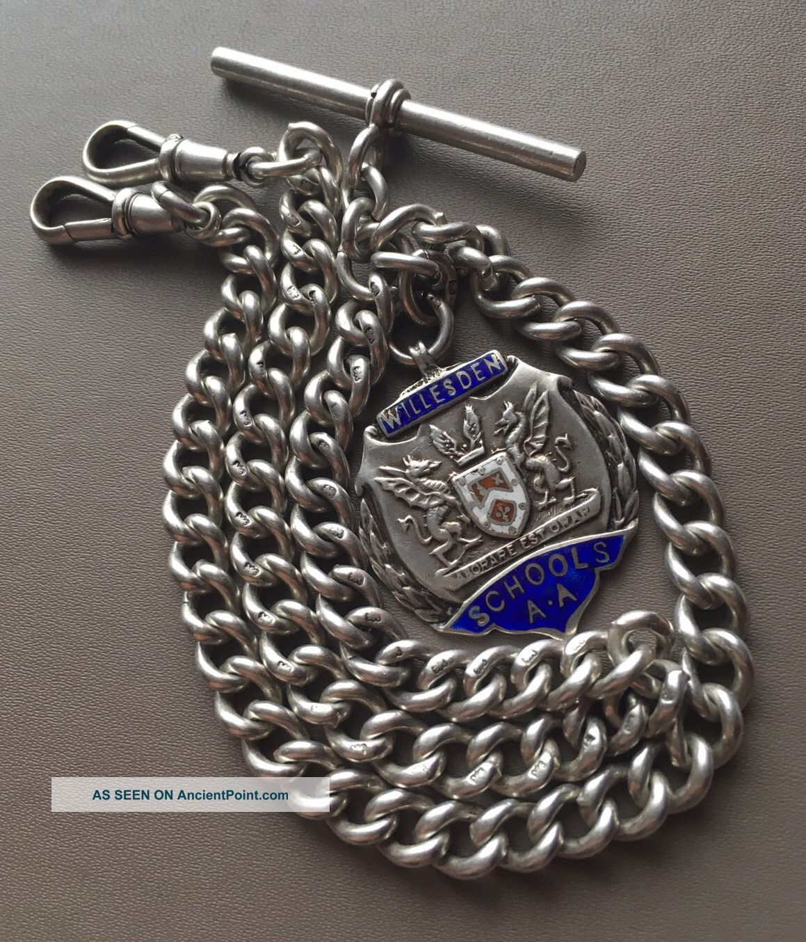 Antique Silver Pocket Watch Graduated Double Albert Chain 52.  1g 1926 Pocket Watches/Chains/Fobs photo