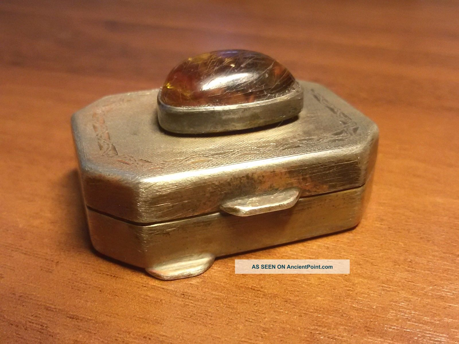 Rare Imperial Russian Solid 84 Silver Box With Baltic Amber.  Faberge Design Russia photo