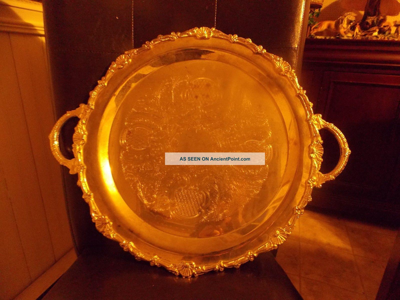 Vintage International Silver Co Handled Engraved Serving Tea Tray 17