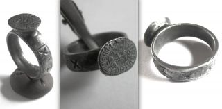 Unique Medieval Knights Templar Signet Ring From A Preceptoris Alemania photo