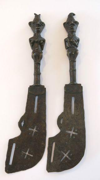 Rare 20th Century African Yoruba Bronze Figural Tribal Staffs Circa1930 photo
