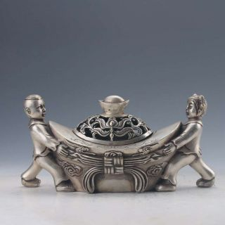 Chinese Tibetan Silver Hand - Carved Ingot Shape Incense Burner W Qianlong Mark photo