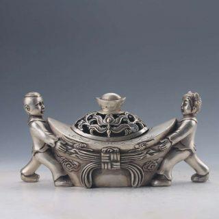 Chinese Tibetan Silver Hand - Carved Ingot Shape Incense Burner W Qianlong Mark photo