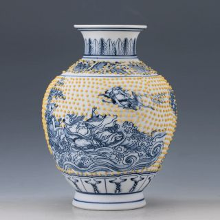 Chinese Blue And White Porcelain Hand - Painted Eight Immortals Vase Z133. photo