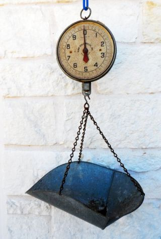 Vintage 20lb Penn Scale Mfg Co Hanging Produce Scale W/ Basket Series 820 photo