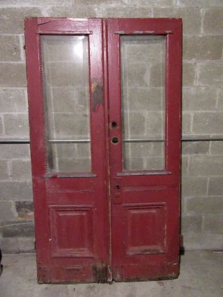 Antique Oak Double Entrance French Doors 48 X 85.  25 Architectural Salvage photo