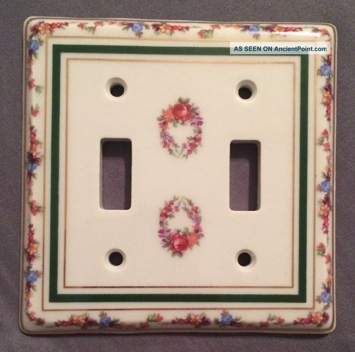 Limoges Porcelain Double Light Switch Cover Plate Flowers