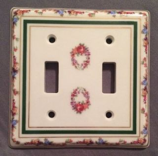 Limoges Porcelain Double Light Switch Cover Plate Flowers,  Gold & Green Trim photo