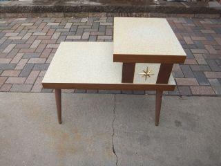 Vintage Retro Atomic Mid Century Modern End Tables Formica Eames Era Starburst photo