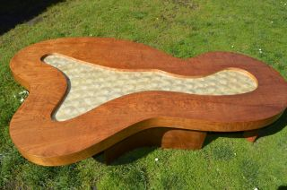 Organic Shaped Mid Century Coffee Table With Capiz Shell Center Inlay photo