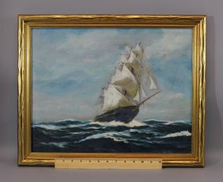 Antique T.  Bailey Maritime O/c Oil Painting,  North America Clipper Ship photo
