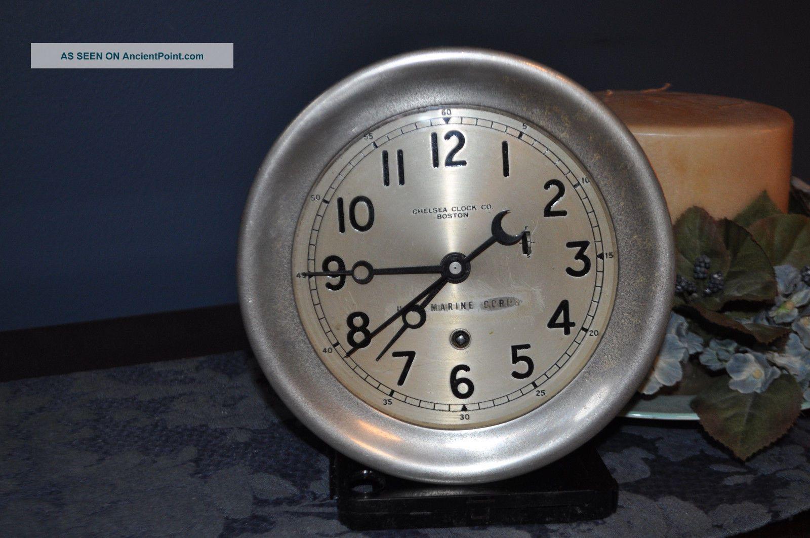 Chelsey Clock Co.  Boston With U.  S.  Marine Corp.  Logo Clocks photo