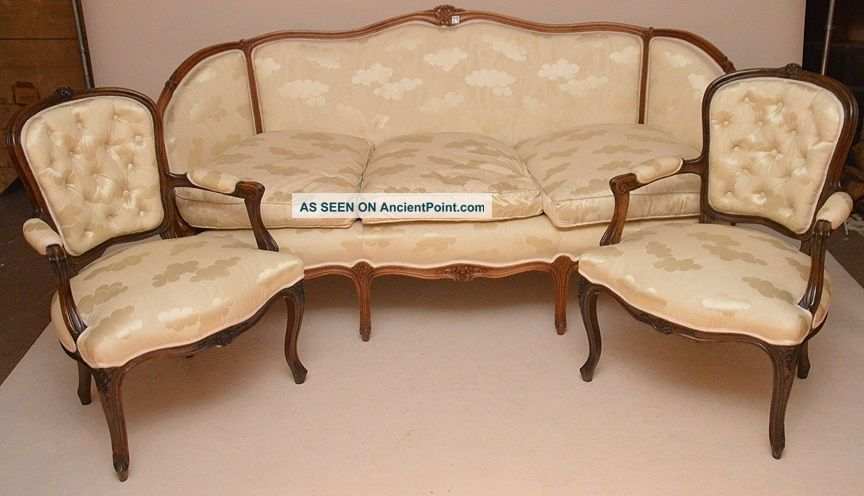 Antique Style Love Seat,  Chaise & 2 Arm Chairs In French Style Cream Fabric. 1900-1950 photo