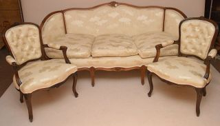 Antique Style Love Seat,  Chaise & 2 Arm Chairs In French Style Cream Fabric. photo