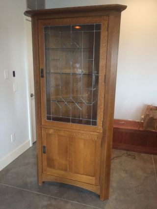 Stickley Mission Oak Leaded Glass Corner Cabinet: Model 89 - 134 photo