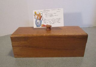 Vintage Recipe Box Wood Double Wide W/ Recipe Card Holder & Recipes photo