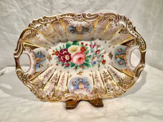 Antique Hand Painted Dresden 2 Handle Center Bowl - 1849 - 1870 photo
