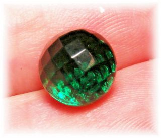 Antique Charm String Diminutive Transparent Faceted Emerald Green Glass Button photo
