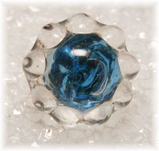 Antique Charm String Sapphire Blue Reflector Glass Button photo