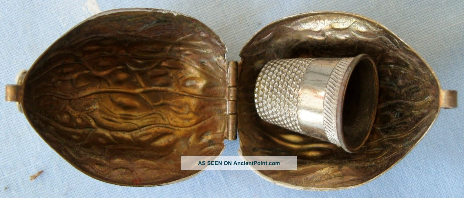 Vintage Sewing Thimble Holder Brass Walnut Shaped Silverplate No.  10 Thimble Thimbles photo
