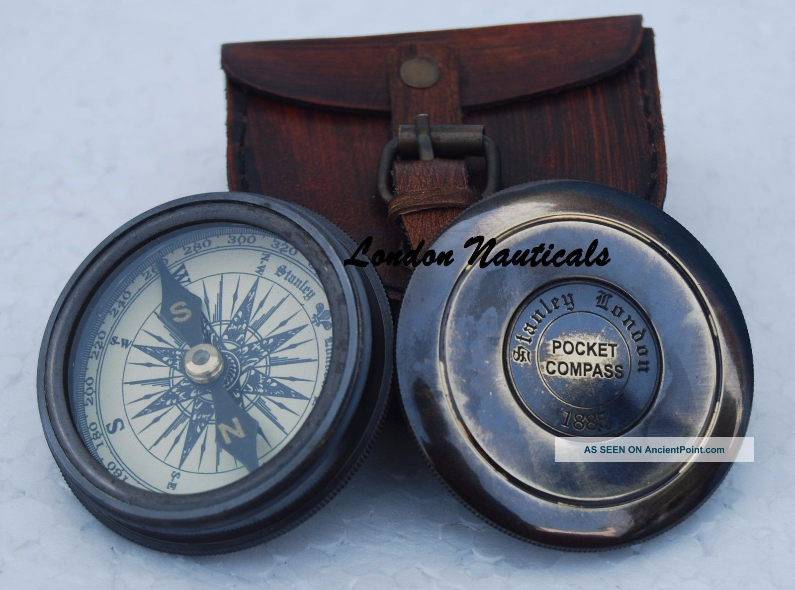 Robert Frost 1885 Poem Engraved London Compass Old Marine With Case Compasses photo