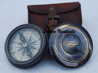 Robert Frost 1885 Poem Engraved London Compass Old Marine With Case photo