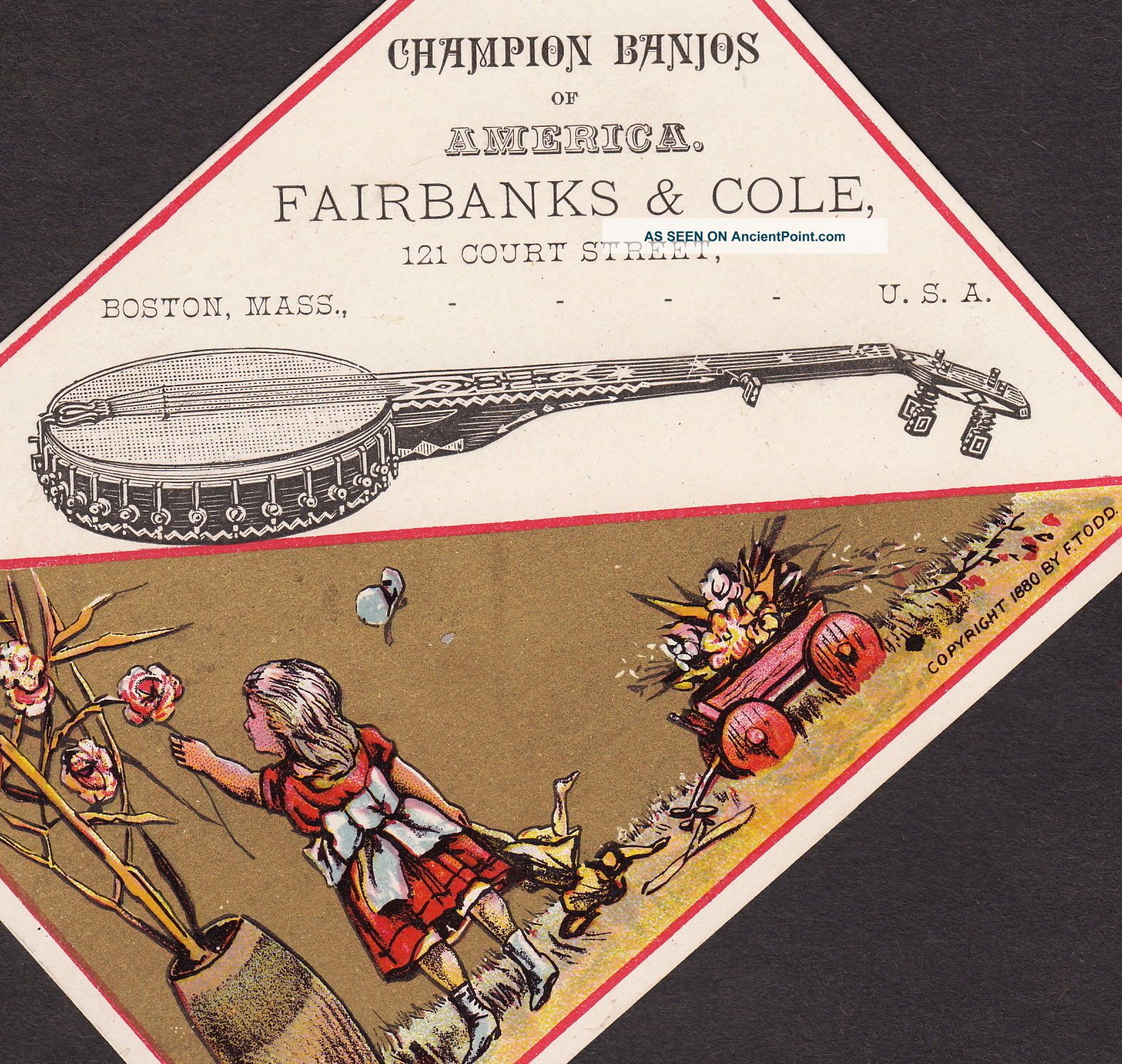Antique 1880 ' S Fairbanks & Cole Banjo Boston American Business Advertising Card String photo