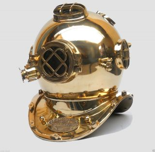 Brass Finish Antique Nautical Divers Helmet Us Navy Replica Gift Item photo