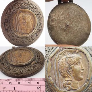 Wonderful Rare Old Roman Bronze Coin Big Silver Stunning Pendant Sh175 photo