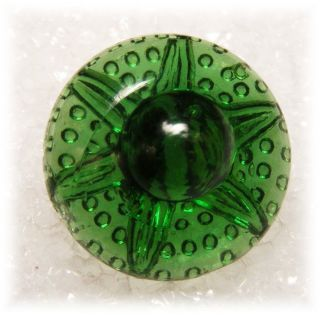 Antique Charm String Transparent Emerald Green Petal Ribs Raised Knob Button photo
