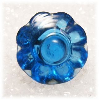 Antique Charm String Sapphire Blue Scalloped Glory Raised Knob Glass Button photo