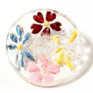 (1) 23 Mm Czech Antique Vintage Intaglio Painted Crystal Flower Glass Button photo