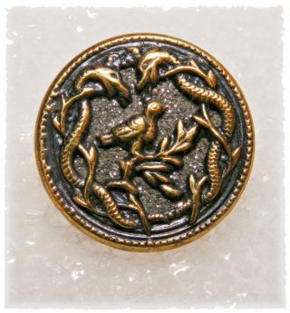 Rare Antique Brass Button Two Snakes Drooling Over Bird On Branch Galena Back photo