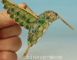 Lucky Chinese Old Green Cloisonne Handmade Carved Hummingbird Statue Pendant photo