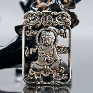 Chinese Collectable Tibet Silver Hand Carved Kwan - Yin Pattern Amulet D290 photo