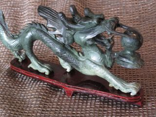 Old Chinese Carved Stone Dragon On Redwood Stand …beautiful Jade Green photo