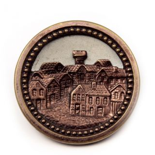 Collectible Antique Victorian Pictorial Bohemian Village Metal Button Geschutzt photo