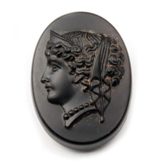 (1) 34mm Czech Victorian Vintage Jet Black Pictorial Mourning Cameo Glass Button photo