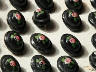 Card (24) 11mm Vtg Czech Victorian Rose Painted Oval Ribbed Black Glass Buttons photo