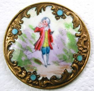 Antique Hand Painted French Enamel Button Man Calling Out Pictorial 1 & 3/16