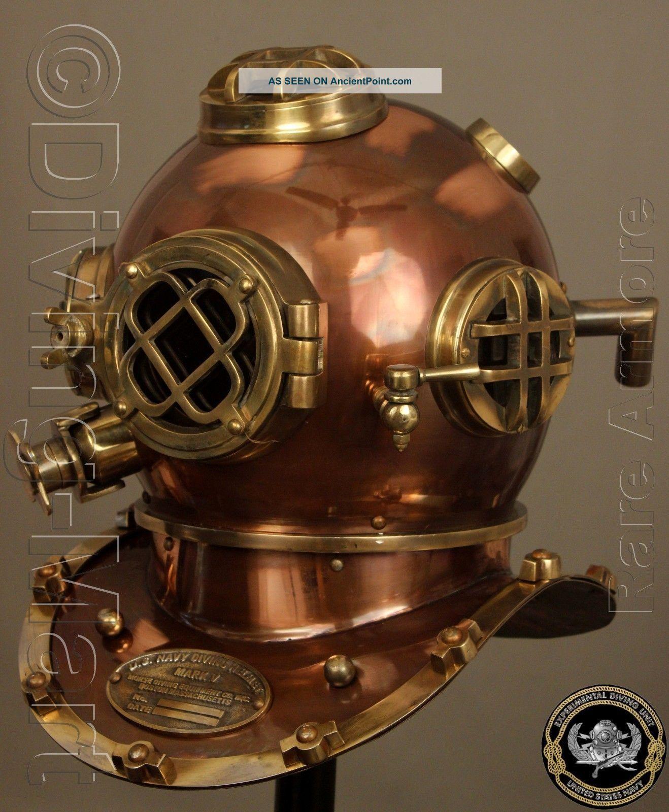 Antique Diving Divers Helmet Solid Steel Brass U.  S Navy Mark V Full Size 18 Inch Diving Helmets photo