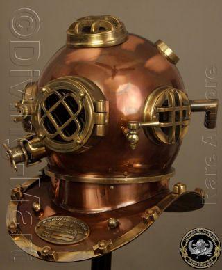 Antique Diving Divers Helmet Solid Steel Brass U.  S Navy Mark V Full Size 18 Inch photo